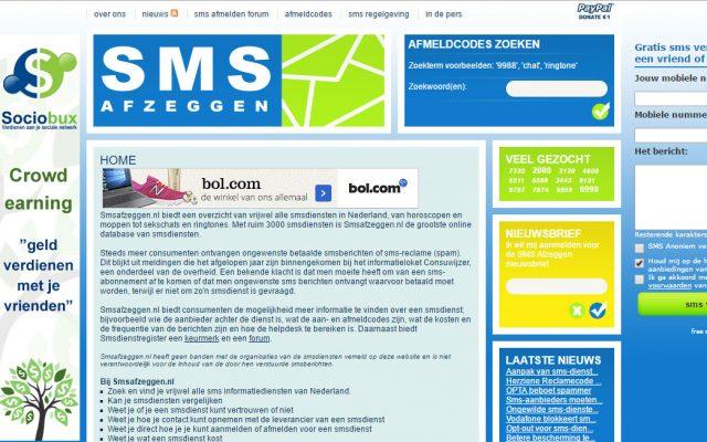 Smsafzeggen.nl biedt een overzicht van vrijwel alle smsdiensten in Nederland